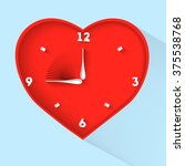 valentines day clock. red heart ... | Shutterstock .eps vector #375538768