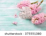 decorative heart and pink... | Shutterstock . vector #375551380