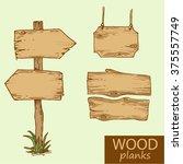 vector illustration wooden... | Shutterstock .eps vector #375557749