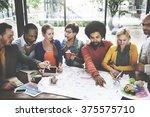brainstorming cooperation... | Shutterstock . vector #375575710
