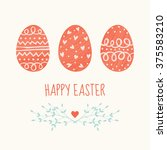 vector easter card design with... | Shutterstock .eps vector #375583210
