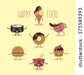 happy fast food with hands and... | Shutterstock . vector #375589393