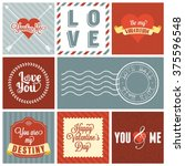 vector valentine s day set ... | Shutterstock .eps vector #375596548
