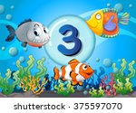 flashcard number three with 3... | Shutterstock .eps vector #375597070