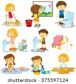 children doing different chores ... | Shutterstock .eps vector #375597124
