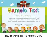 diploma template with teachers... | Shutterstock .eps vector #375597340