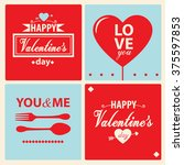 happy valentines day cards with ... | Shutterstock .eps vector #375597853