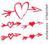 Set Of Red Grungy Hearts....