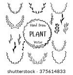 set of hand drawn plant. ink... | Shutterstock .eps vector #375614833