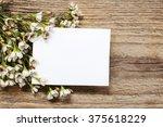 blank card among chamelaucium... | Shutterstock . vector #375618229