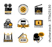 cinema and film labels with... | Shutterstock .eps vector #375625150