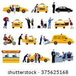 taxi service icons set with...