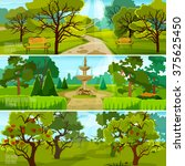 garden landscape banners set of ... | Shutterstock .eps vector #375625450