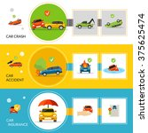 car insurance banners set with...   Shutterstock .eps vector #375625474