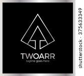 double arrow logo. two up arrow ... | Shutterstock .eps vector #375633349