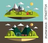 flat summer nature landscape | Shutterstock .eps vector #375637714
