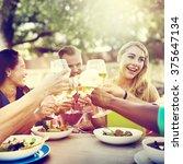 diverse people friends hanging...   Shutterstock . vector #375647134