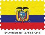 wrinkled paper ecuador stamp ... | Shutterstock .eps vector #375657346
