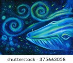 big blue whale into the... | Shutterstock . vector #375663058
