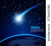 comet on earth planet in cosmos ...   Shutterstock .eps vector #375669280