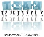 solving a puzzle  team.... | Shutterstock .eps vector #375693043