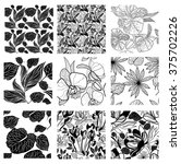 vector set of nine seamless... | Shutterstock .eps vector #375702226