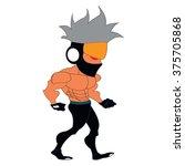 bad guy walking with grey big... | Shutterstock .eps vector #375705868
