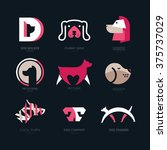 Stock vector set of logotypes with dogs dog logo collection logotype for vet clinic pet shop dog training or 375737029