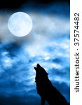 Wolf In Silhouette Howling To...