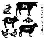 set of butchery logo templates. ...   Shutterstock .eps vector #375745078