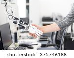 robot man handshake | Shutterstock . vector #375746188