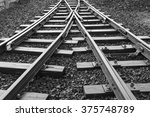 two railway tracks merge | Shutterstock . vector #375748789