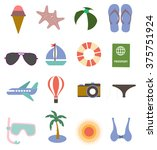 summer icons set | Shutterstock .eps vector #375751924