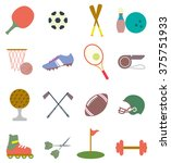 sports items icons set | Shutterstock .eps vector #375751933