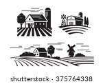vector black flat farm icons on ... | Shutterstock .eps vector #375764338