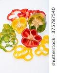 sweet pepper isolated on white... | Shutterstock . vector #375787540