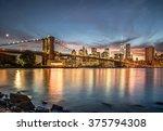 brooklyn bridge with sunset...   Shutterstock . vector #375794308