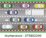 some cars and trucks trapped in ... | Shutterstock .eps vector #375802240