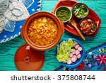 pozole with mote big corn stew... | Shutterstock . vector #375808744