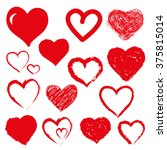 vector set of hand drawn hearts.... | Shutterstock .eps vector #375815014
