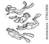 Graphic Set Of Scuba Divers...