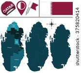 vector map of qatar with named... | Shutterstock .eps vector #375820414