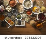 assorted spices on the wooden... | Shutterstock . vector #375823309