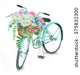 Watercolor Turquoise Bicycle...