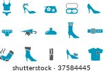 Vector icons pack - Blue Series, clothing collection - stock vector