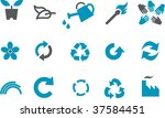Vector icons pack - Blue Series, eco collection - stock vector