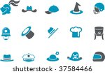 Vector icons pack - Blue Series, hat collection - stock vector