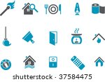 Vector icons pack - Blue Series, house collection - stock vector