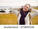 mature woman stretching   Shutterstock . vector #375845140