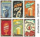 retro wall decor with juices... | Shutterstock .eps vector #375849139